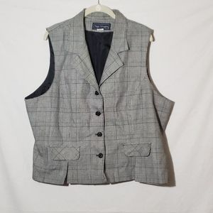 Vintage 80's Glen Plaid Black Button Career Vest